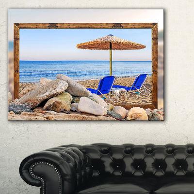 Designart Framed Effect Beach With Chairs UmbrellaSeashore Photo Canvas Art Print - 3 Panels