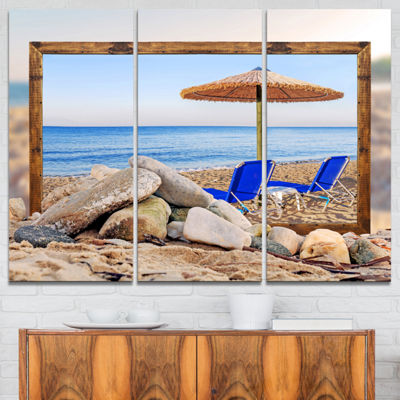 Designart Framed Effect Beach With Chairs UmbrellaSeashore Photo Canvas Art Print - 3 Panels