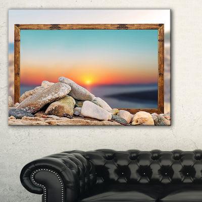 Designart Framed Effect Rocky Beach Seashore Canvas Art Print
