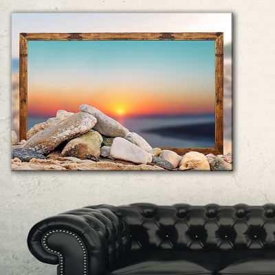 Designart Framed Effect Blurred Beach Seashore Canvas Art Print - 3 Panels