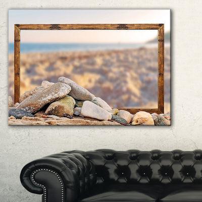 Designart Framed Effect Blurred Seashore LandscapeCanvas Art Print