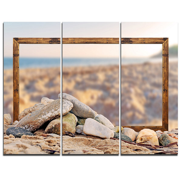 Designart Framed Effect Blurred Seashore LandscapeCanvas Art Print - 3 Panels