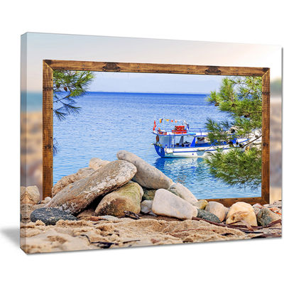 Designart Framed Effect Boat In Ocean Seashore Canvas Art Print