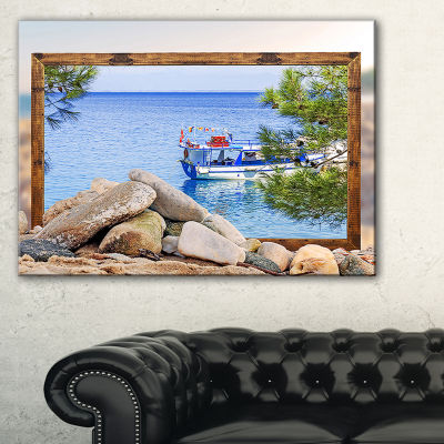 Designart Framed Effect Boat In Ocean Seashore Canvas Art Print - 3 Panels