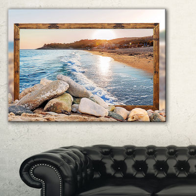 Designart Framed Effect Rocky Beach Seashore Canvas Art Print - 3 Panels