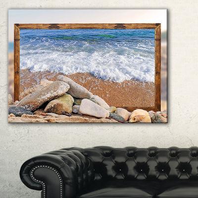 Designart Framed Effect Waves And Rocks SeashoreCanvas Art Print