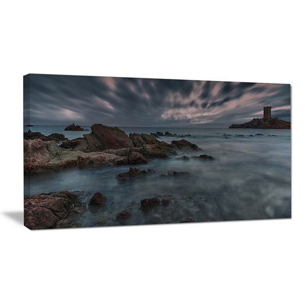 Designart French Riviera Coastline Landscape Photography Canvas Art Print