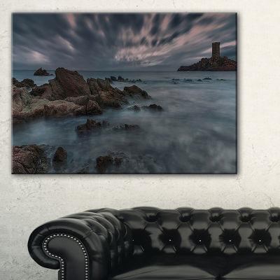 Designart French Riviera Coastline Landscape Photography Canvas Art Print - 3 Panels