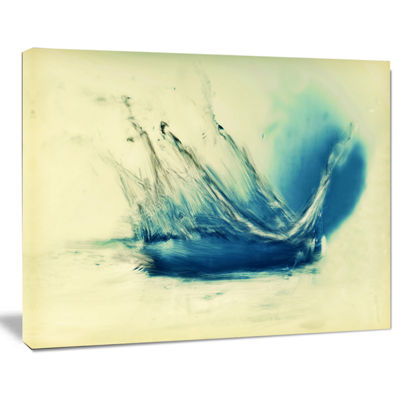 Designart Fresh Water Splash Blue Abstract CanvasPainting