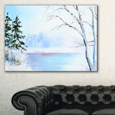 Designart Frozen River Oil Painting Landscape Painting Canvas Print
