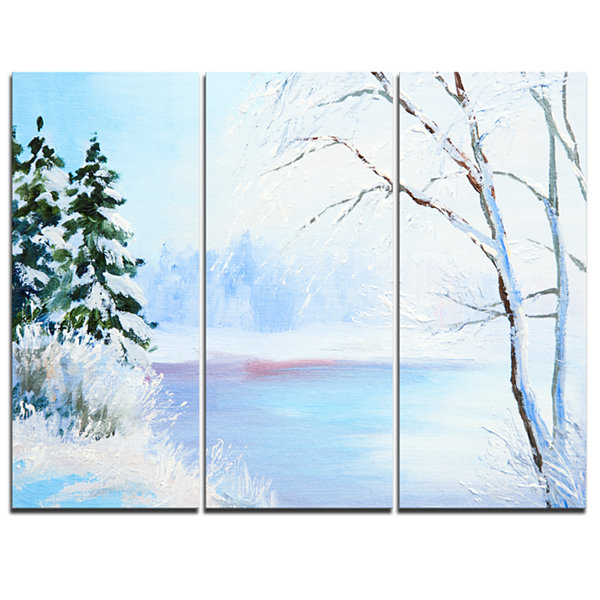 Designart Frozen River Oil Painting Landscape Painting Canvas Print - 3 Panels