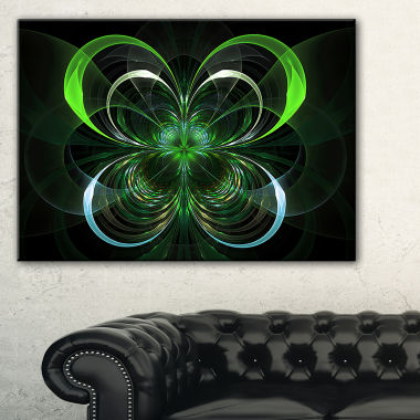 Designart Green Fractal Flower In Dark Green Floral Art Canvas Print