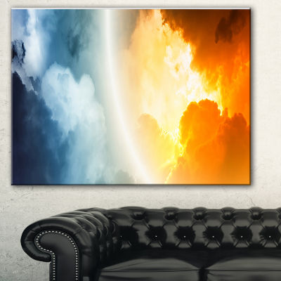Design Art Space Sunset Spacescape Canvas Art Print- 3 Panels