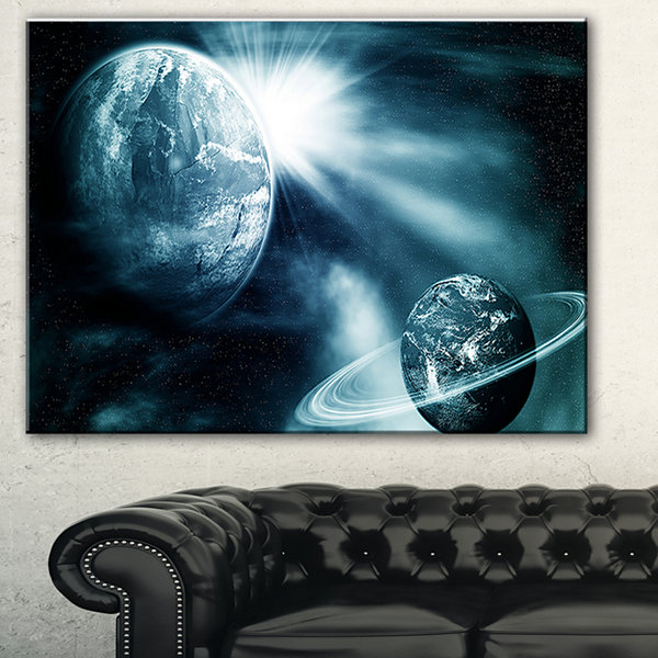Designart Space View With Two Planets SpacescapeCanvas Art Print