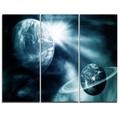 Designart Space View With Two Planets SpacescapeCanvas Art Print - 3 Panels