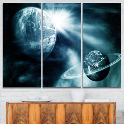 Designart Space View With Two Planets Spacescape Canvas Art Print - 3 Panels