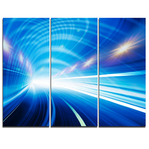 Design Art Speed Motion In Highway Tunnel AbstractCanvas Art Print - 3 Panels