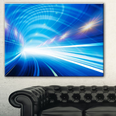 Designart Speed Motion In Highway Tunnel AbstractCanvas Art Print - 3 Panels