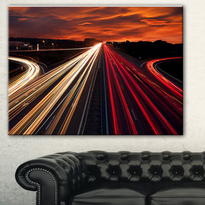 Designart Speed Traffic Trails Cityscape DigitalArt Canvas Print - 3 Panels