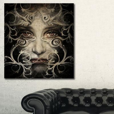 Designart Spirit Woman Sketch Abstract Portrait Canvas Print - 3 Panels