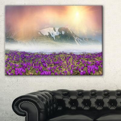 Designart Spring Crocus Flowers Landscape Photo Canvas Art Print