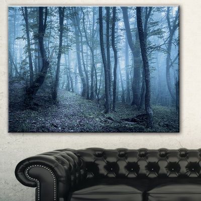 Designart Spring Foggy Forest Trees Landscape Photography Canvas Print