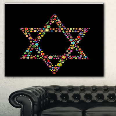 Designart Star Of David Shape Abstract Canvas ArtPrint - 3 Panels