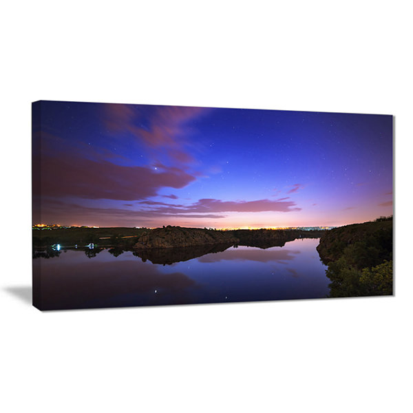 Designart Stars And Clouds Reflection Landscape Photography Canvas Print
