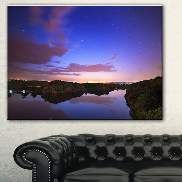 Designart Stars And Clouds Reflection Landscape Photography Canvas Print - 3 Panels
