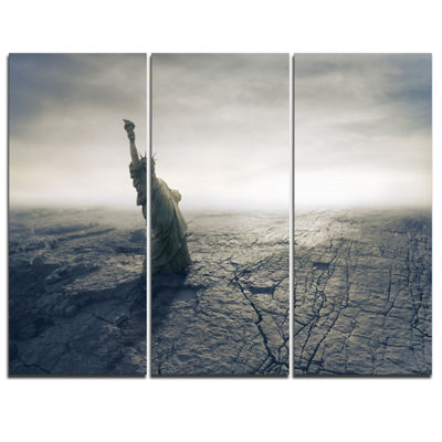 Designart Statue Of Liberty In Dried Field Landscape Photography Canvas Print - 3 Panels