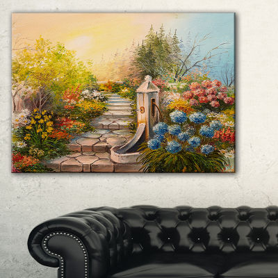 Designart Stone Stairs In Forest Landscape Painting Canvas Print