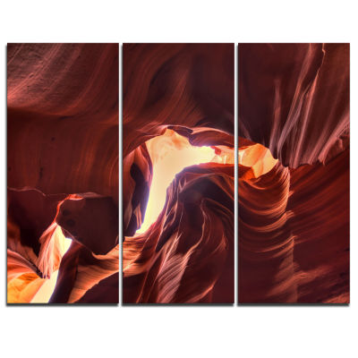 Designart Stone Structures In Lower Antelope Canyon Photography Canvas Art Print - 3 Panels