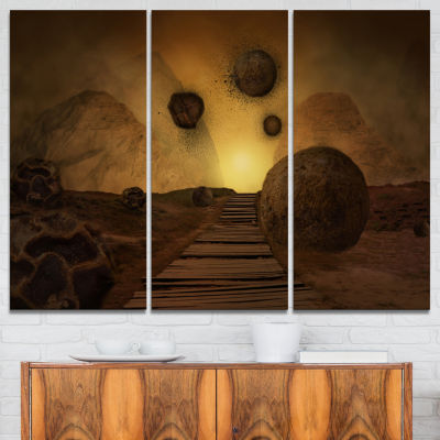 Designart Stones From Space Abstract Canvas Art Print - 3 Panels