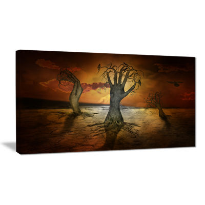 Designart Storage Trees Abstract Canvas Art Print