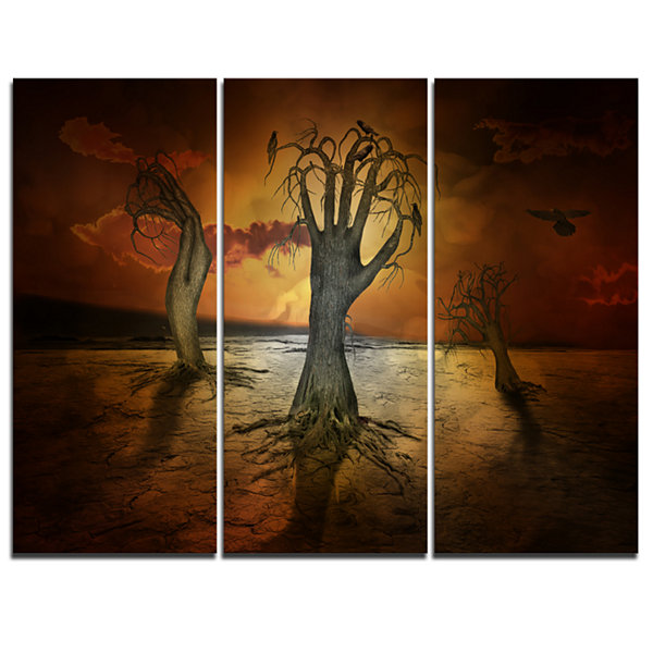 Designart Storage Trees Abstract Canvas Art Print-3 Panels