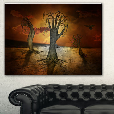 Designart Storage Trees Abstract Canvas Art Print- 3 Panels