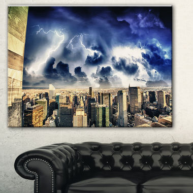 Designart Storm Above Manhattan Skyscrapers Cityscape Photo Canvas Print
