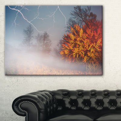 Designart Storm And Lighting In Autumn Forest Landscape Photography Canvas Print - 3 Panels