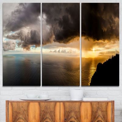 Designart Storm Dark Could At Sunset Landscape Photography Canvas Print - 3 Panels