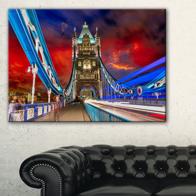 Designart Storm Over Tower Bridge At Night Cityscape Photo Canvas Print - 3 Panels