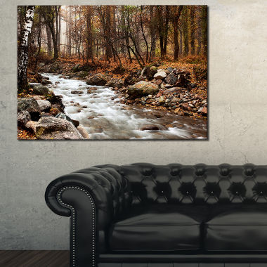 Designart Stream In Autumn Forest Landscape Photography Canvas Art Print