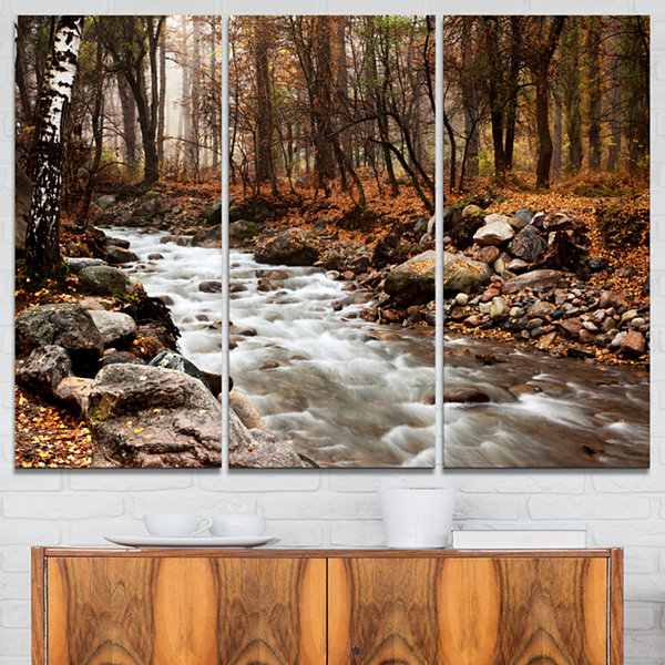 Designart Stream In Autumn Forest Landscape Photography Canvas Art Print - 3 Panels