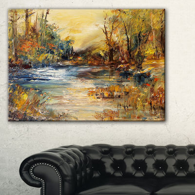 Designart Stream In Forest Oil Painting LandscapePainting Canvas Print - 3 Panels