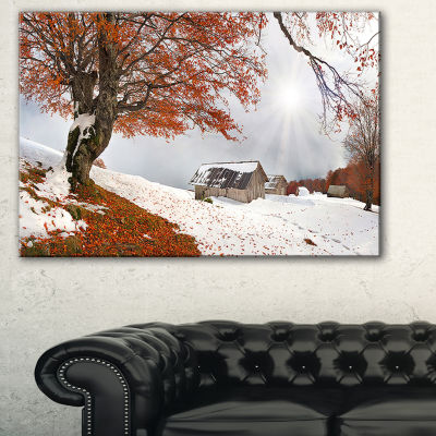 Designart Sudden Snow In First Autumn Landscape Photography Canvas Print - 3 Panels
