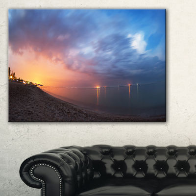 Designart Summer Night With Blue Sky Skyline Photography Canvas Art Print - 3 Panels