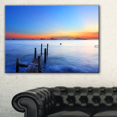 Designart Summer Sea With Wooden Pier Seascape Canvas Art Print - 3 Panels