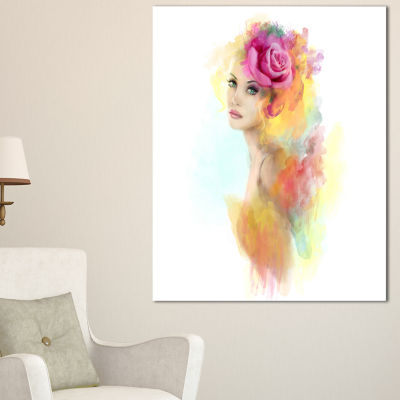 Design Art Summer Woman With Flowers Floral Painting Canvas Art Print