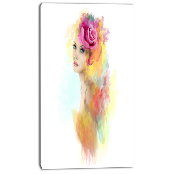 Designart Summer Woman With Flowers Floral Painting Canvas Art Print