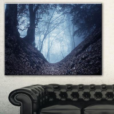 Designart Sunlight Hitting Foggy Forest LandscapePhotography Canvas Print - 3 Panels