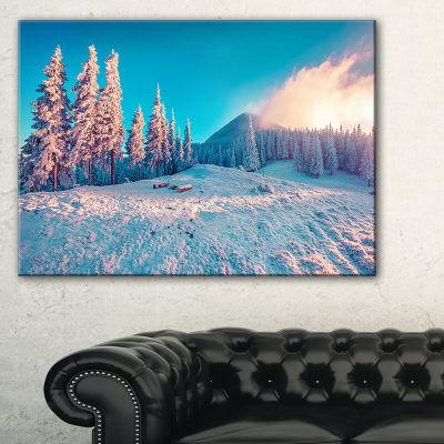 Designart Sunlight Over Winter Mountains LandscapePhotography Canvas Print